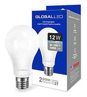 Светодиодная лампа GLOBAL 1-GBL-166 A60 12W 4100К E27 220V Код.58593