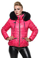 Стеганая зимняя куртка с натуральным мехом.
