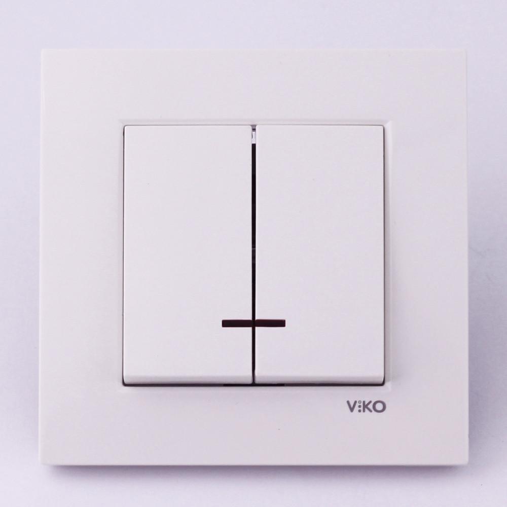 Выключатель двухклавишный VI-KO Karre с подсветкой скрытой установки (белый)
