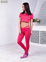 Женский костюм для спорта и фитнеса: топ и лосины. Малиновый цвет