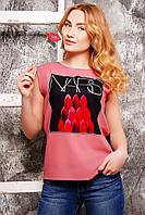 Классическая женская футболка из новой весенне-летней коллекции с дизайнерским принтом