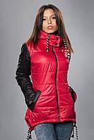 Женская демисезонная куртка - парка. Код модели К-56-12-15. Цвет красный.