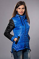 Женская демисезонная куртка - парка. Код модели К-56-12-15. Цвет яркий синий.