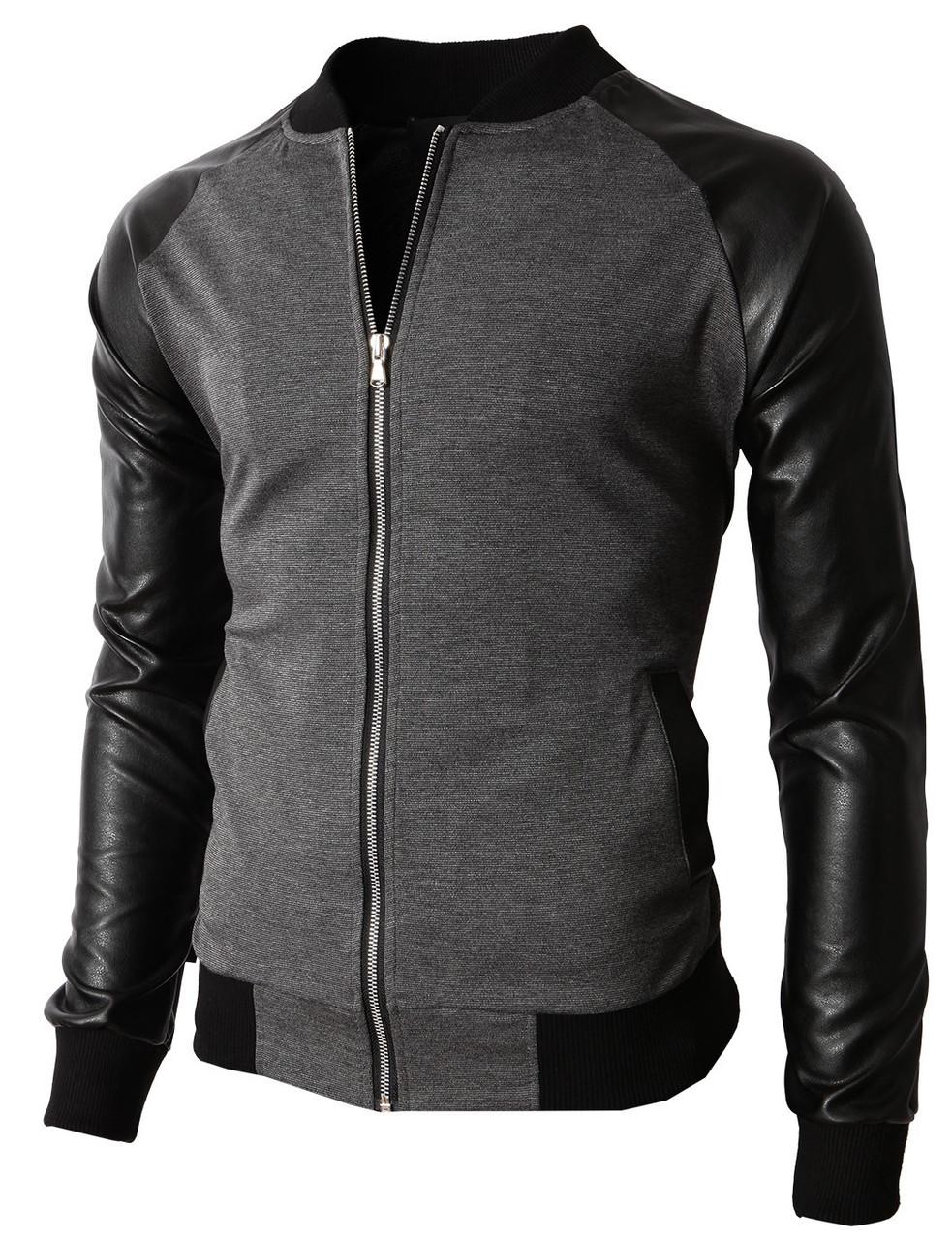 Стильная мужская кофта-куртка с рукавами из кожзама