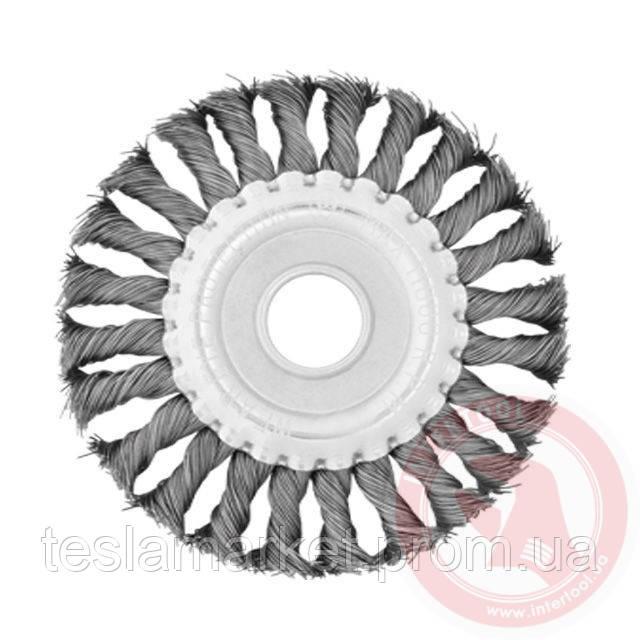 Щетка дисковая 150х22,2 мм для УШМ плетеная проволока INTERTOOL BT-7150 - TeslaMarket в Днепре