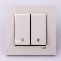 Выключатель двухклавишный проходной VI-KO Karre скрытой установки (белый)