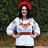 """Сорочка вишиванка для дівчинки """"Три Мака"""" гладдю и хрестиком від 8 до 16 років, фото 3"""