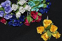 Цветы розочки с листочками для декора,5шт ,10/8, 10 см