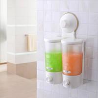 Двойной диспенсер для жидкого мыла. Дозатор для жидкого мыла на 2 емкости Double Soap Dispenser Super Suction