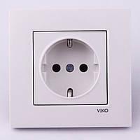 Розетка электрическая VI-KO Karre скрытой установки одинарная с заземлением (белая), фото 1