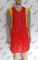 Фартук, накидка торговая красная, нейлоновая с логотипом