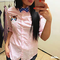 """Женская стильная рубашка в полоску с бабочкой """"котик"""" (2 цвета)"""