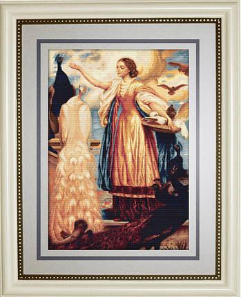 """Набор для вышивания нитками  """"Девушка кормящая павлинов"""", фото 2"""