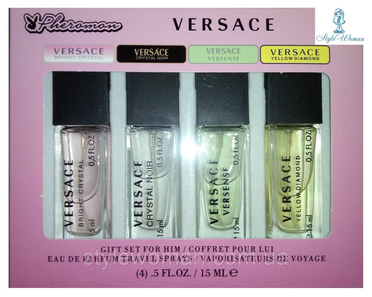 Парфумерний набір з феромонами Versace Versace міні 4 по 15мл топ жіночий аромат