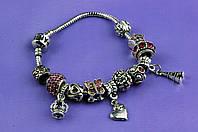 """Браслет Pandora (пандора)  """"Бабочка"""" розовые камни P076"""