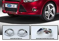 Ford Focus III 2011+ и 2015+ гг. Хром на противотуманки (2 шт, пласт)