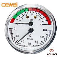 Термоманометр для отопления фронтальный 6 бар 120 °C Италия