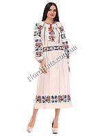 Платье женское бежевое, домотканый лён