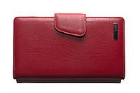 Кредитница кожаная, турецкой фирмы Karya, красного цвета, на кнопке