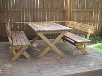 Набор: стол и лавочки со спинками (не крашенный)