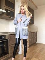 Женский пиджак с меховыми карманами