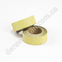 Скотч декоративный с глиттером, золото