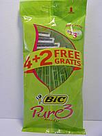 Станок женские одноразовые для бритья BiC Pure 3 Lady 4+2 шт. (Бик 3 Пюр Леди) оригинал