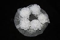 Украшения для волос; Сеточка на гульку с розочками, 20 штук в упаковке (белые)