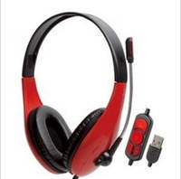 Наушники накладные проводные с микрофоном Chenyun CY-726 Red Подключение через USB кабель