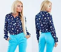 Шифоновая рубашка тёмно синяя с орнаментом. Арт-5121/48