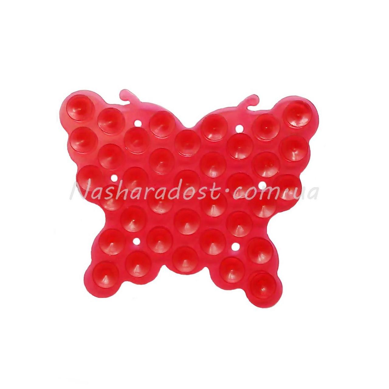 Полочки липучки с присоской с двух сторон Бабочка красная
