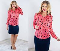 Шифоновая рубашка розовая с орнаментом. Арт-5121/48