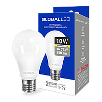 LED лампа GLOBAL A60 10W мягкий свет 220V E27 AL (1-GBL-163) (NEW)