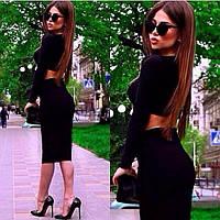 Костюм кофта+юбка миди черный