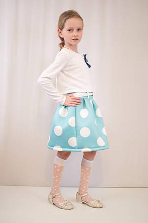 Детское модное, нарядное платье  бирюзово-белое., фото 2