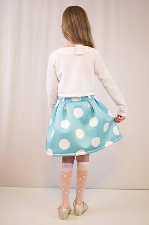 Детское модное, нарядное платье  бирюзово-белое., фото 3