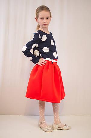 Детское оригинальное, нарядное трикотажное платье в горошек., фото 2