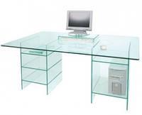 Стеклянный компьютерный стол с тумбами