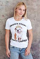 Отличная летняя футболка белого цвета с ярким оригинальным принтом