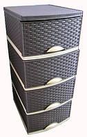 Комод пластиковый Плетенка OR-160 серый/графит, белый/серым, беж/коричн