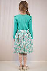 Детское модное, нарядное  платье, бирюзовое и коралловое., фото 3