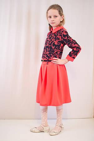 Детское оригинальное, стильное коралловое трикотажное платье., фото 2