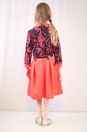 Детское оригинальное, стильное коралловое трикотажное платье., фото 3