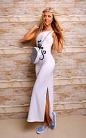 Летнее длинное платье трикотажное. Открытая спинка