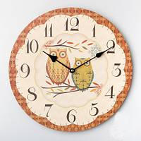 """Интерьерные настенные часы """"Совушки"""" 35 см"""