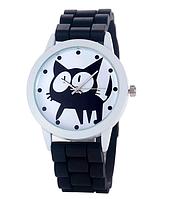 Женские часы GENEVA Женева с белым циферблатом и КОТОМ, силиконовый браслет (черный), часы женские на ремешке
