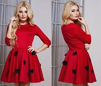 Красное молодёжное платье юбка клёш с бантиками Арт.-5134/48