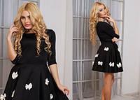 Чёрное молодёжное платье юбка клёш с бантиками Арт.-5134/48