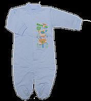 Человечек для новорожденного р. 74 с начесом ткань ФУТЕР 100% хлопок ТМ Виктория 3038 ГОЛУБОЙ
