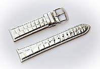 Ремешок кожаный Bros Cvcrro a Mano для наручных часов с классической застежкой, серебристый, 20 мм